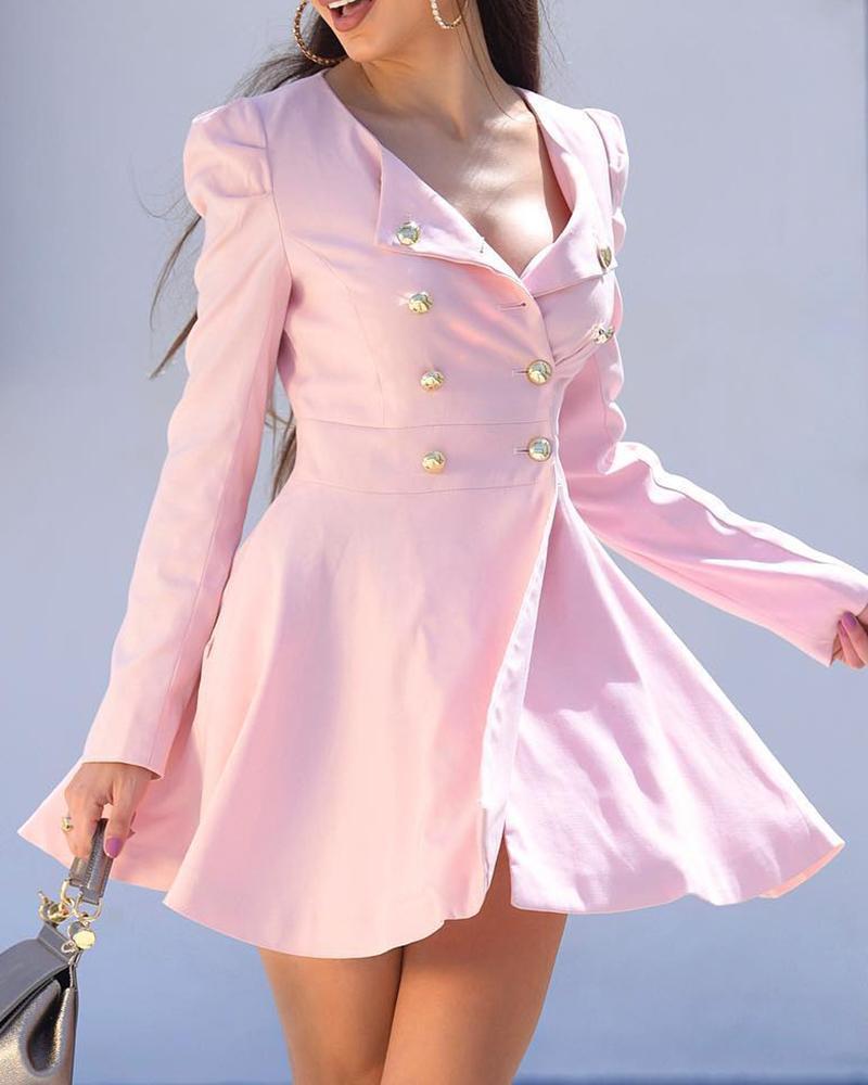 boutiquefeel / Vestido estilo blazer con botones y manga abullonada en color liso