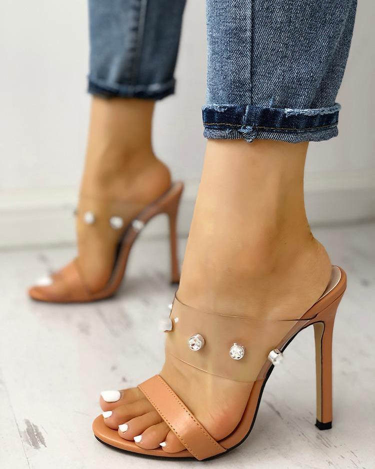 Shiny Embellished Transparent Thin Heeled Sandals фото