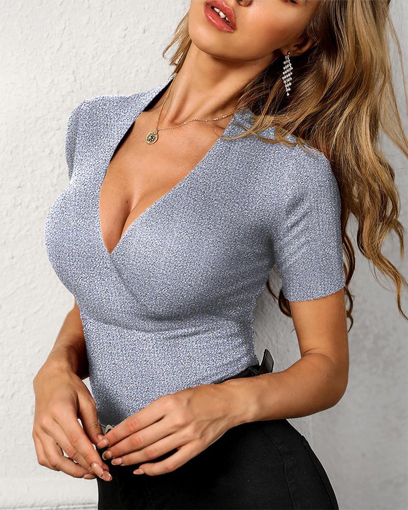 Glitter Short Sleeve V-Neck Blouse фото