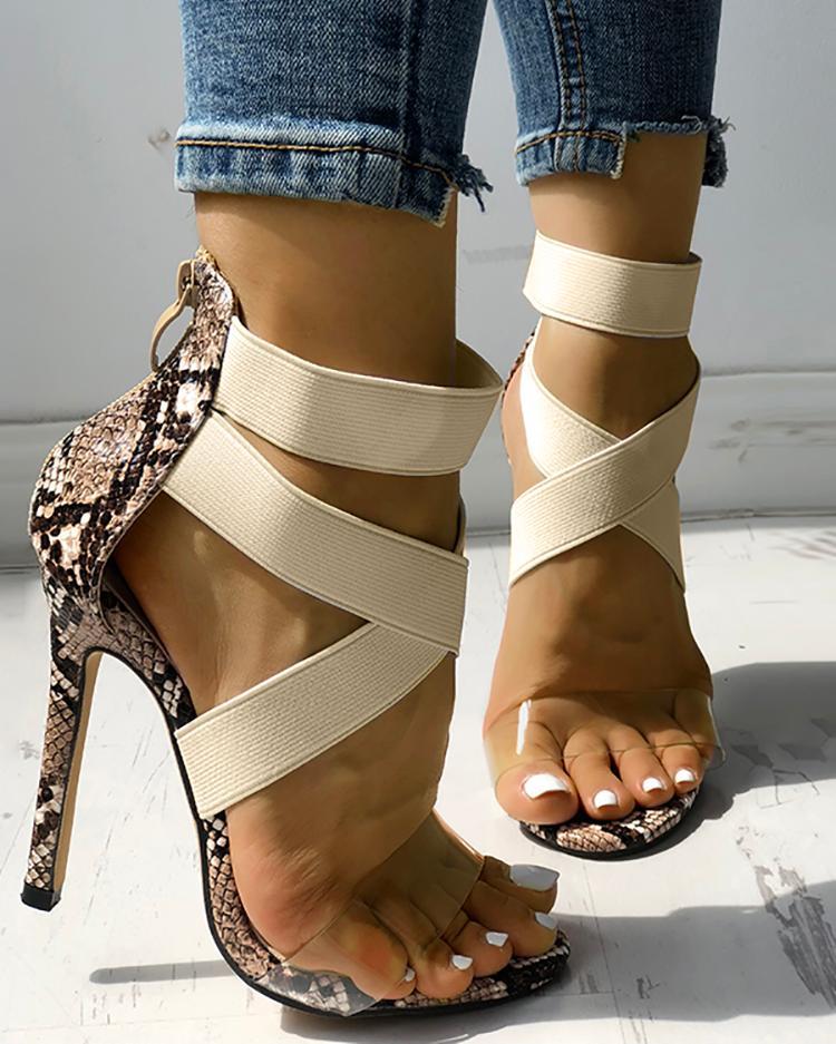 Transparent Crisscross Bandage Thin Heeled Sandals фото