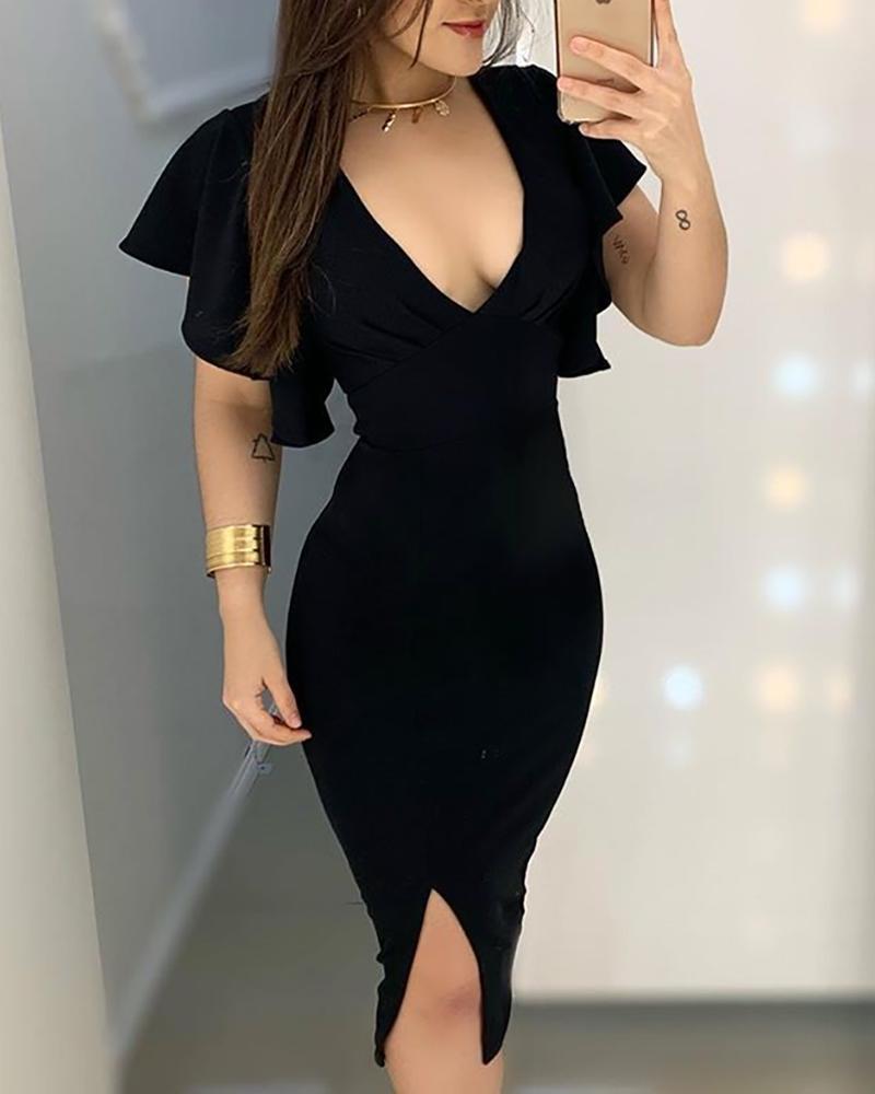 ivrose / Solid Ruffles Design Slit Bodycon Dress