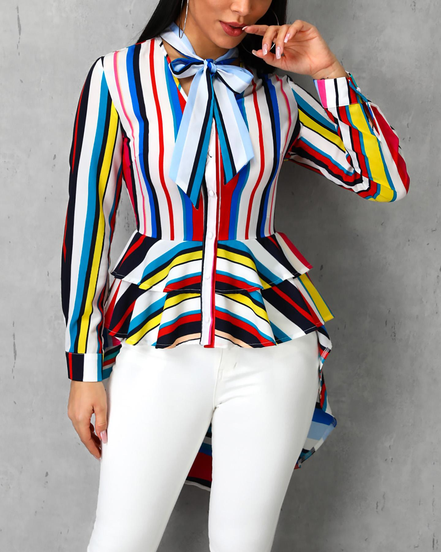 Colorful Striped Ruffles Tied Neck Dip Hem Blouse