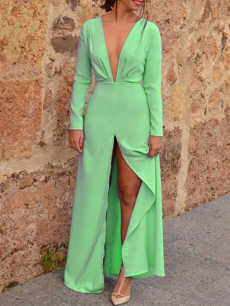 ivrose / Solid Plunge Ruched Slit Maxi Dress