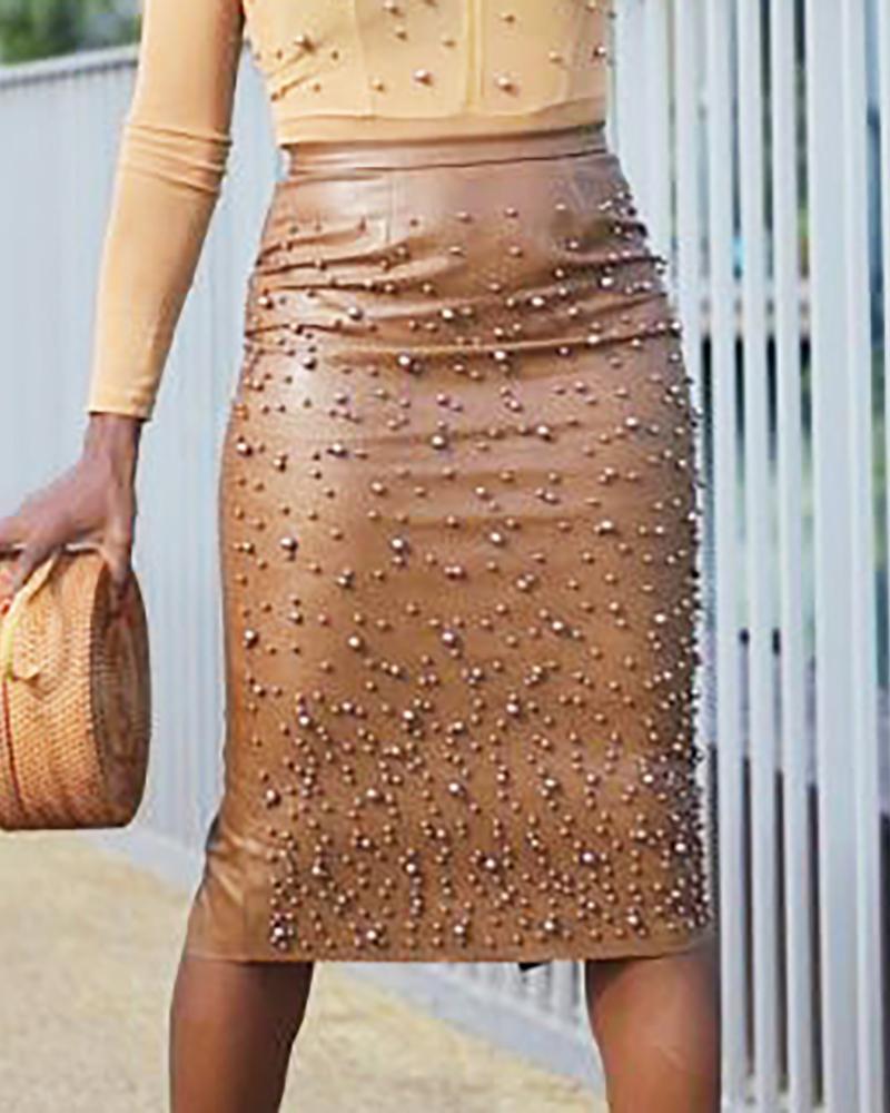Beaded Faux Leather Zipper Slit Skirt фото