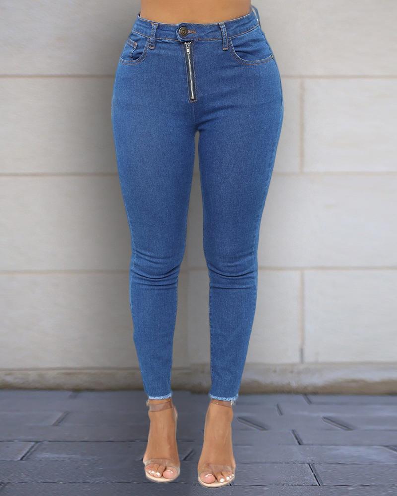 High Waist Zip Jeans фото