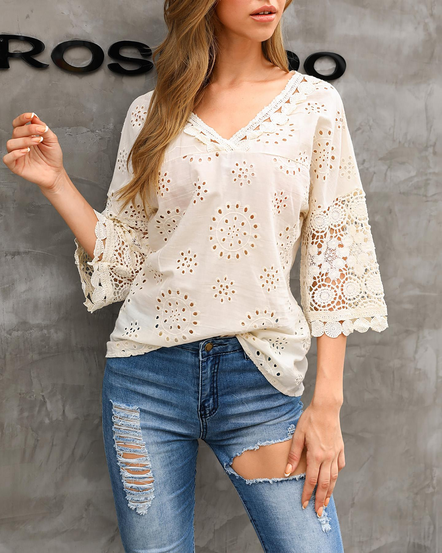V Neck Broderie Anglaise Lace Blouse фото