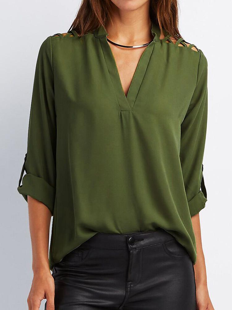 Spring Fashion Lace-up Shoulder Casual Top