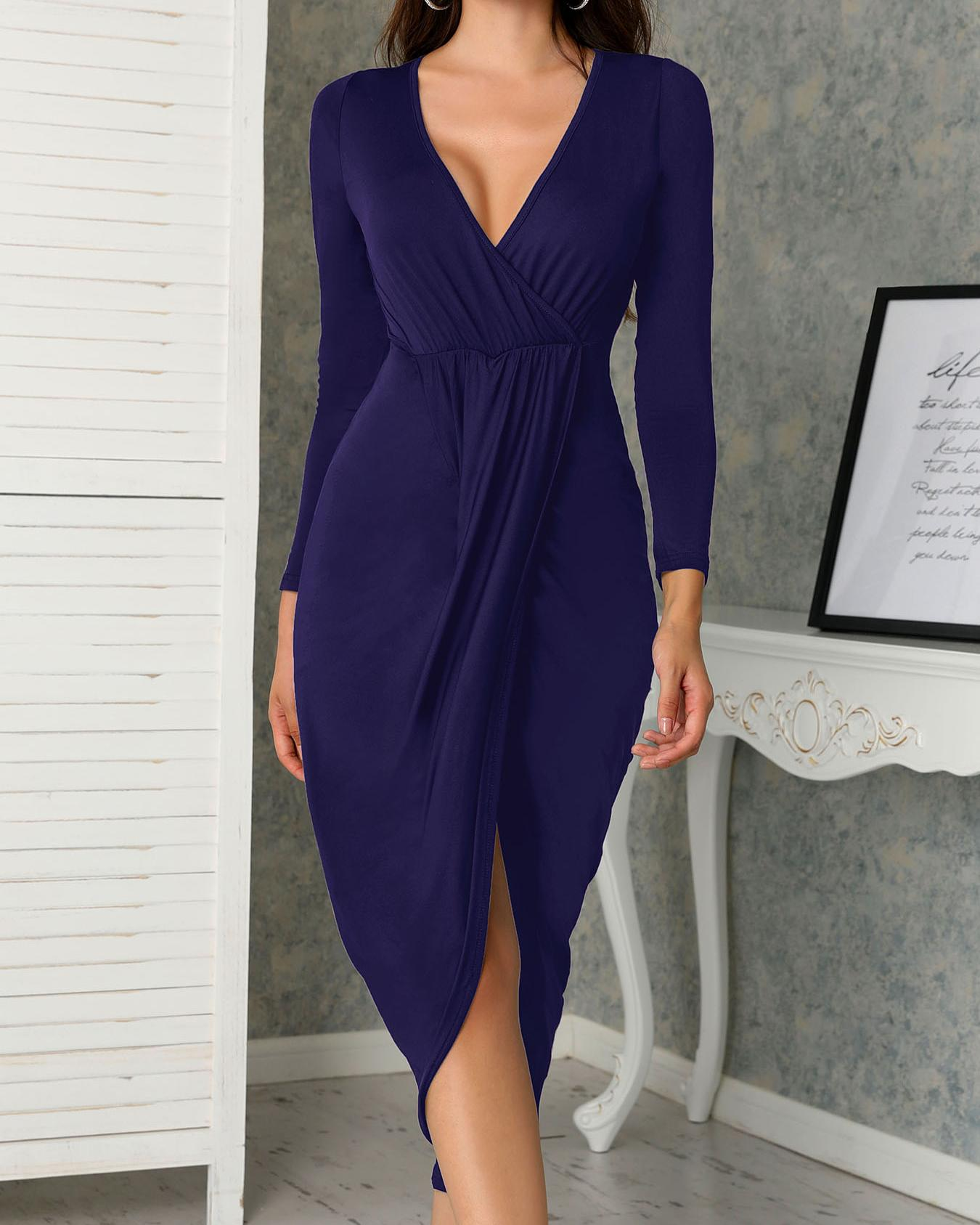 Deep V Ruched Tulip Hem Party Dress фото