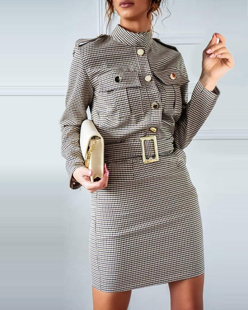 boutiquefeel / Vestido xadrez de manga comprida com design de bolso