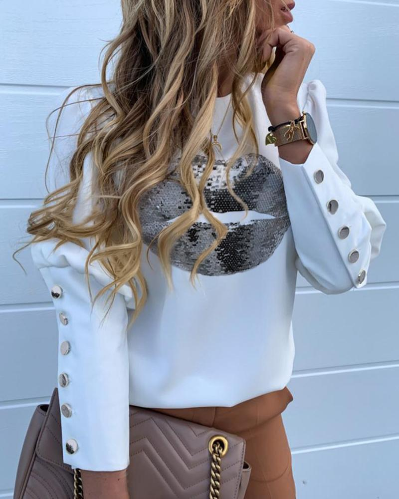 boutiquefeel / Em torno do pescoço Puff Sleeve Popper Cuff Sequins Boca Pattern Blusa