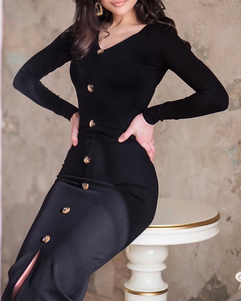 boutiquefeel / Vestido ajustado con abertura de un solo pecho sólido