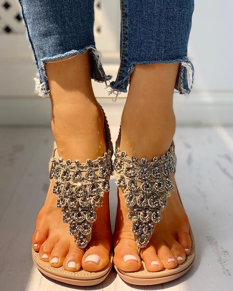 ivrose / Toe Post Studded Flat Sandals