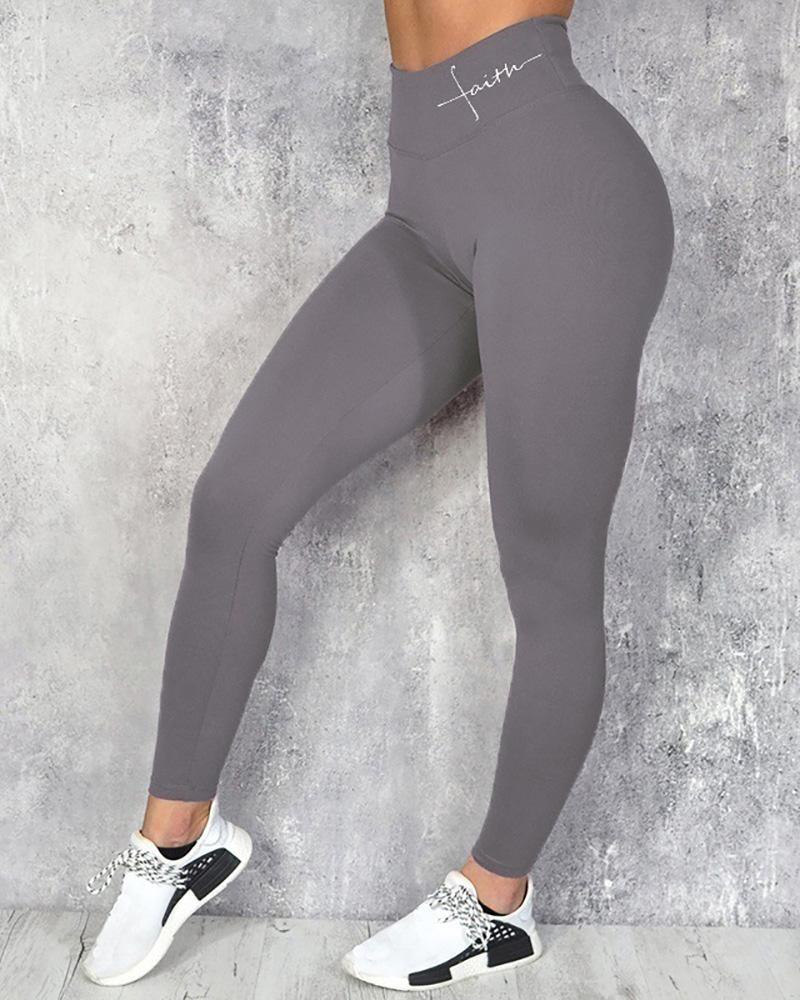Letter Pattern Print High Waist Sporty Pants фото