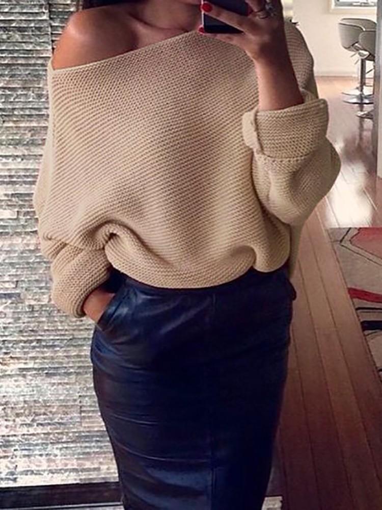 Trendy Women One Shoulder Loose Sweater