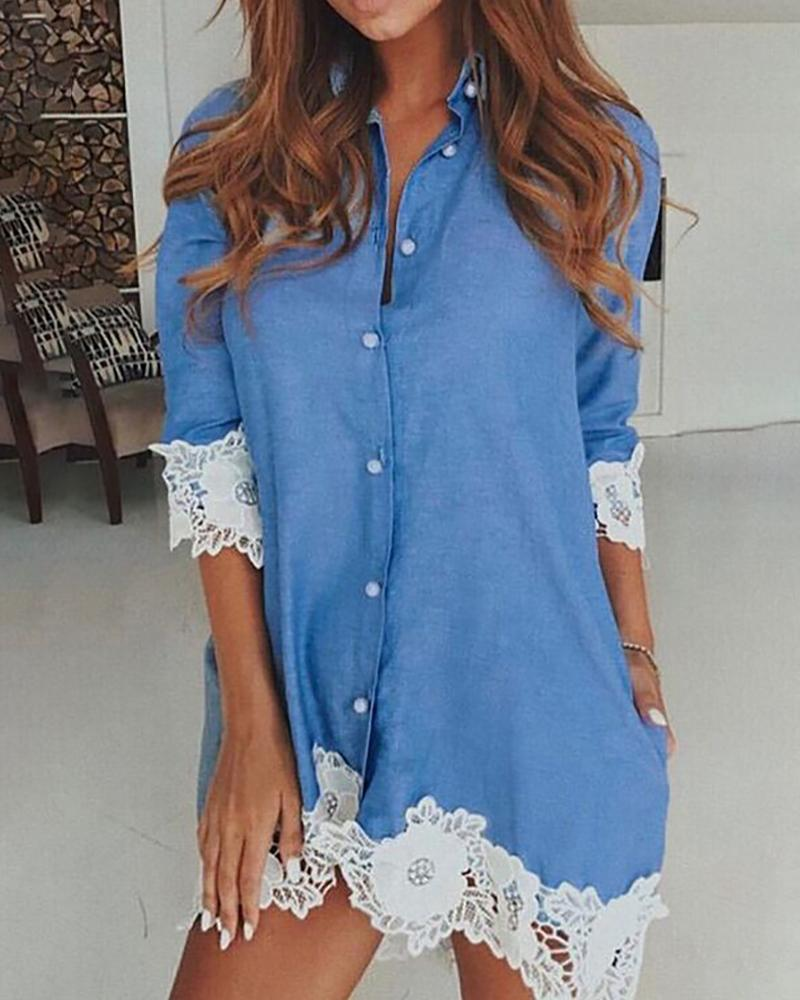 Lace Hem Denim Long Sleeve Shirt Dress