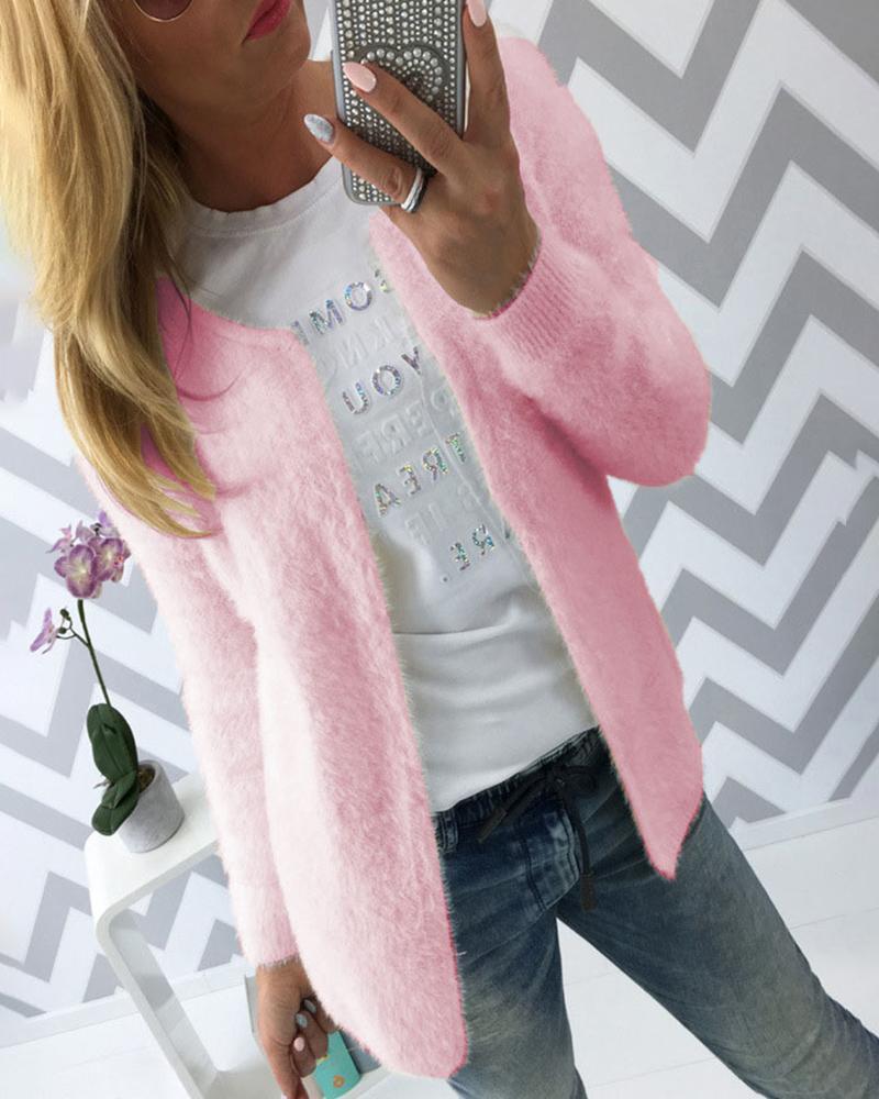 Solid Long Sleeve Casual Fluffy Coat фото