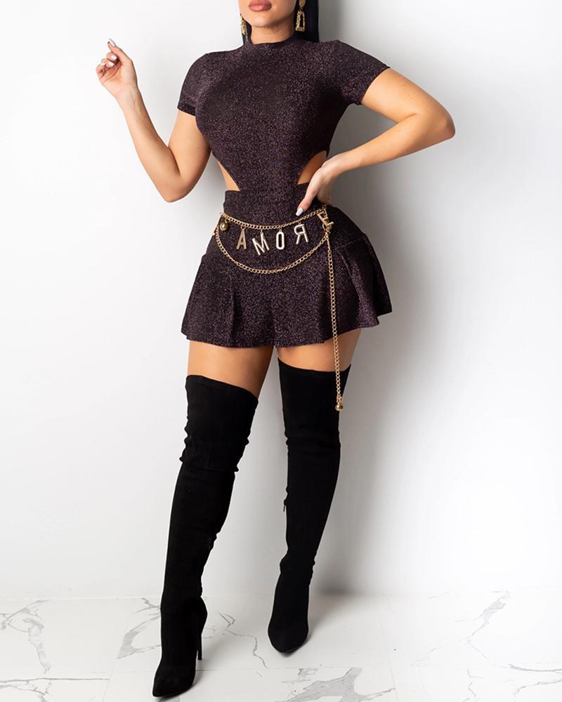 Glitter Mock Neck Short Sleeve Cut Out Waist Top & Pleated Skirt Sets