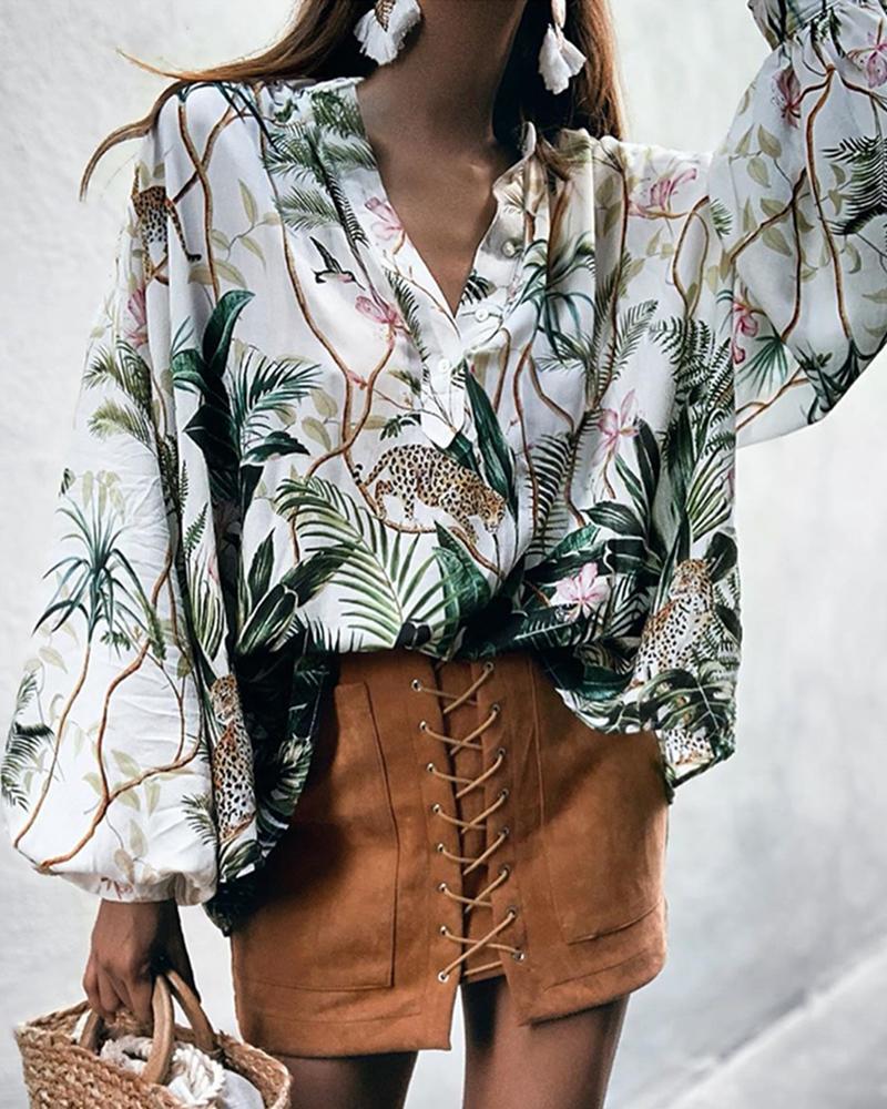 boutiquefeel / Blusa de manga larga con estampado botánico