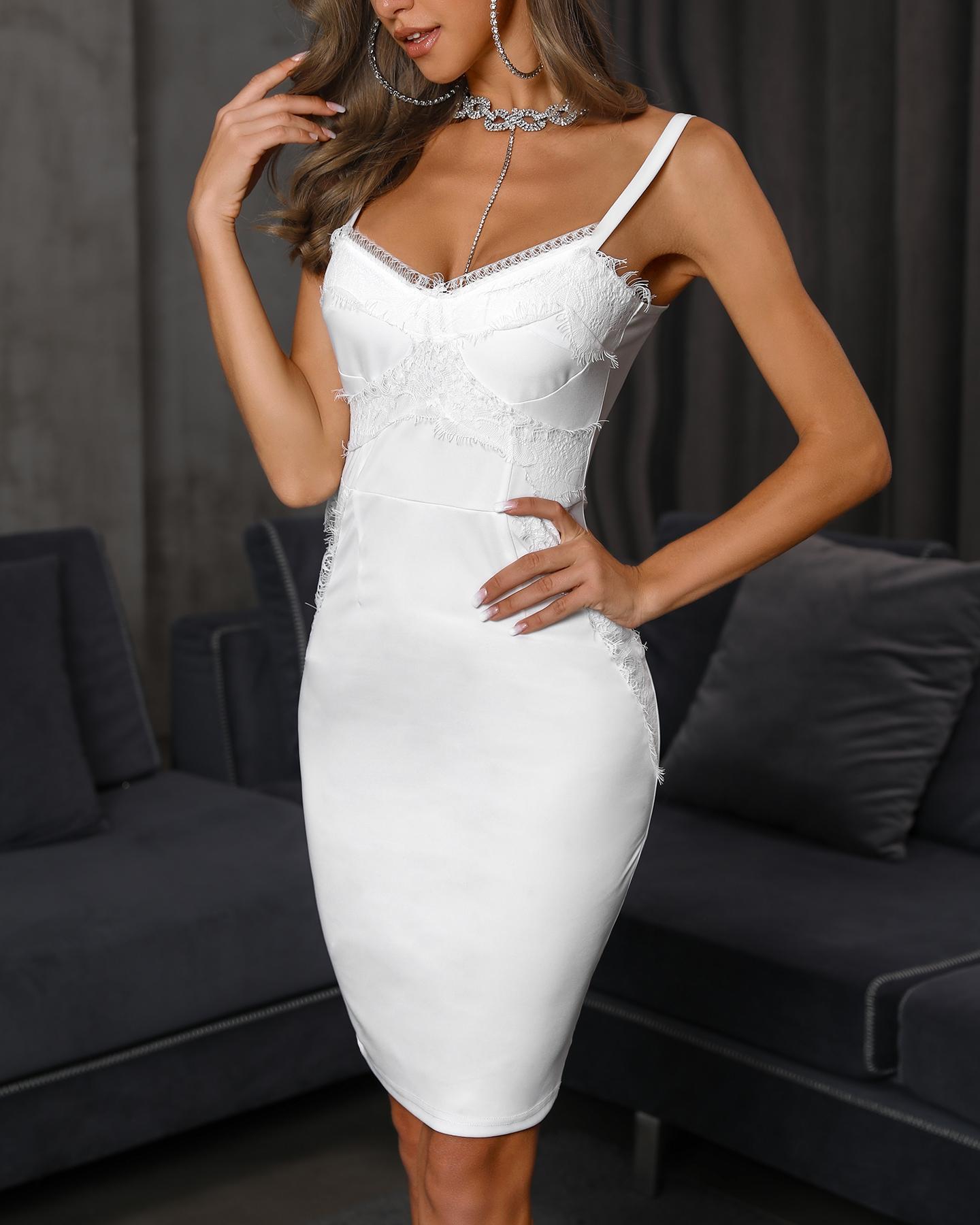 Solid Eyelash Lace Splicing Bodycon Dress