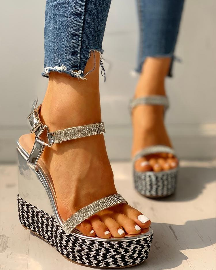 joyshoetique / Studded Open Toe Platform Wedge Sandals
