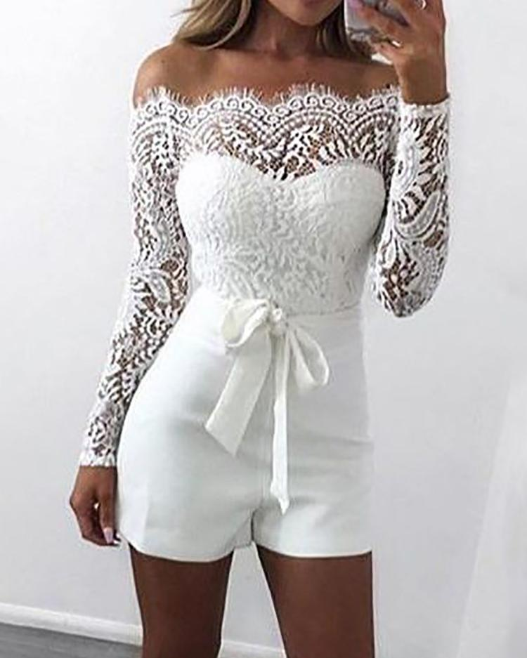 Off Shoulder Eyelash Lace Patchwork Belted Romper фото