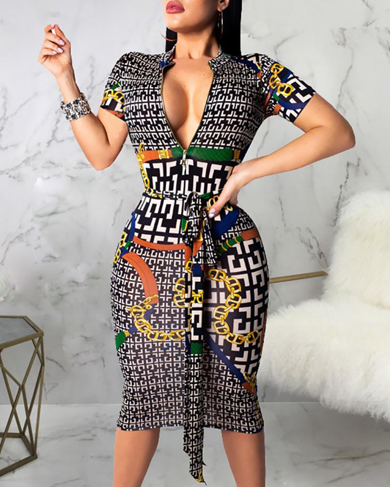 ivrose / Geo Print Deep V Neck Bodycon Dress
