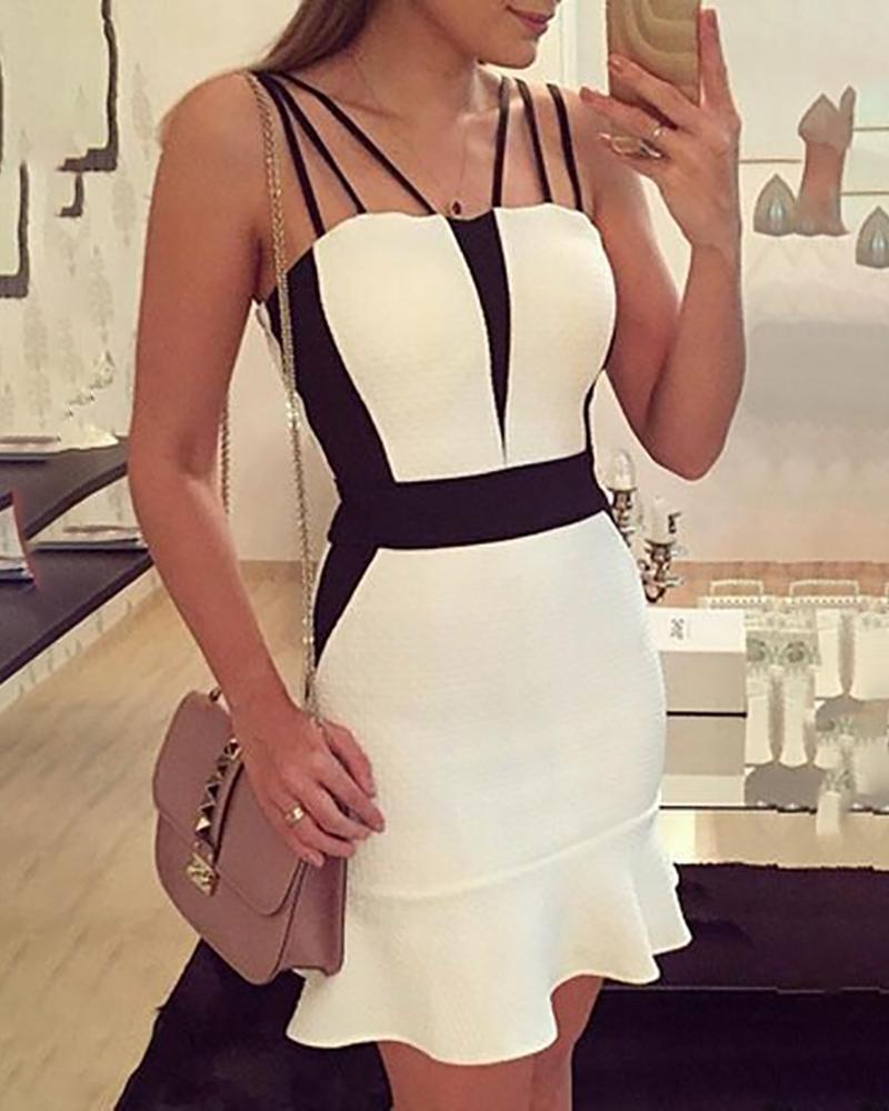 Multi-Strap Contrast Color Ruffles Dress фото