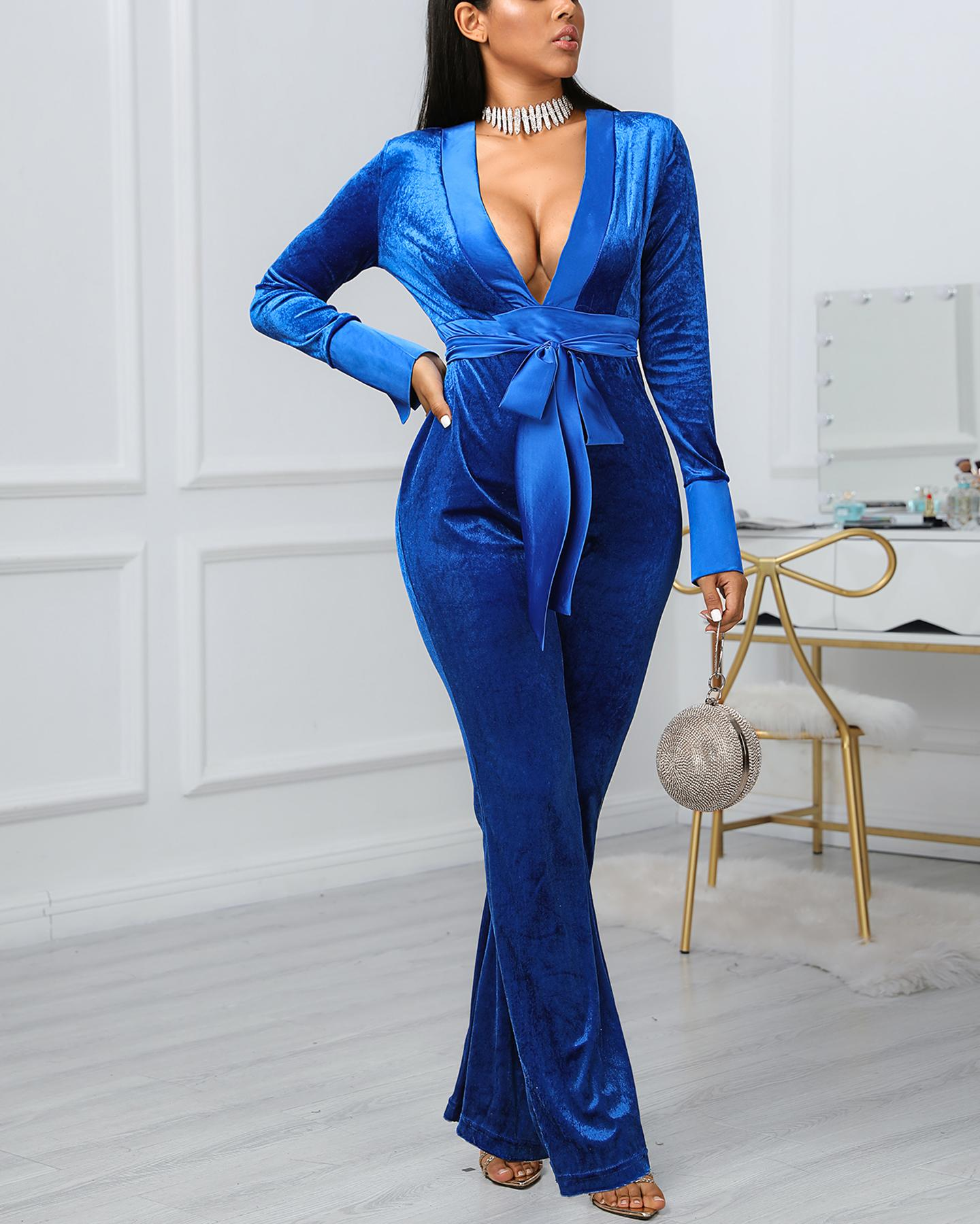 Solid Tied Waist Long Sleeve Jumpsuit фото