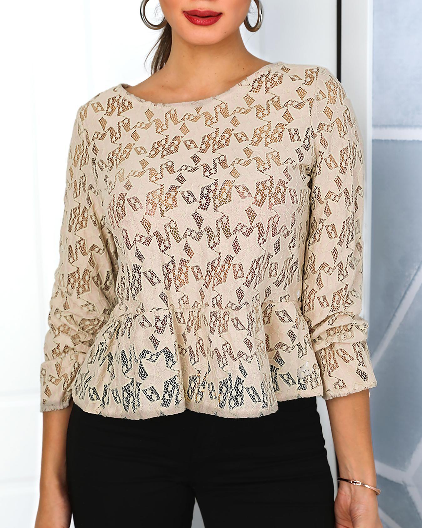 Lace Hollow Out Peplum Blouses фото