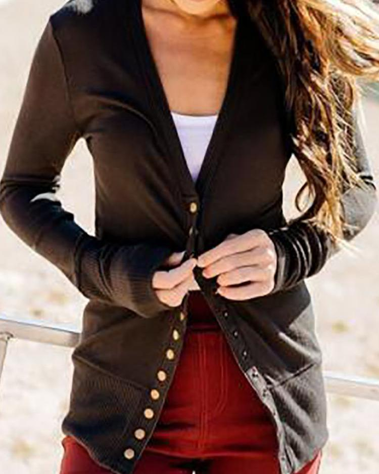 V-Neck Long Sleeve Button Design Coat фото