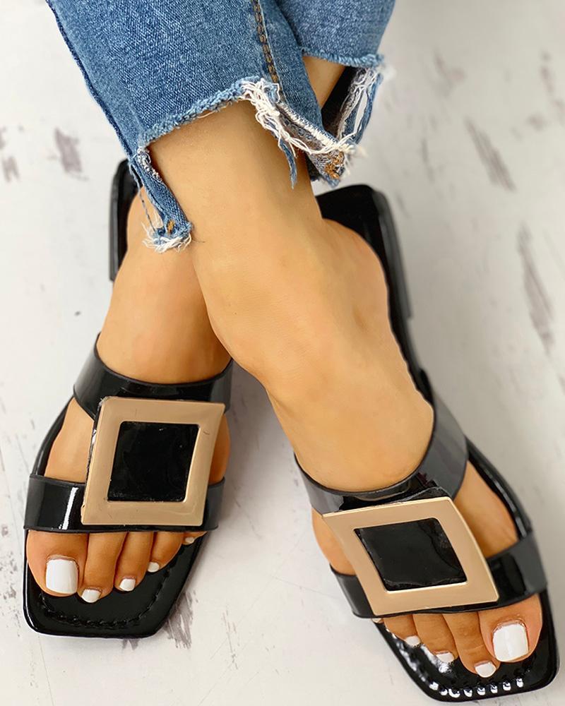 Open Toe Buckled Flat Sandals фото