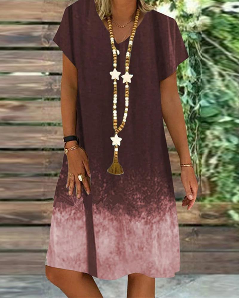 Dip Dye V Neck Mini Dress фото