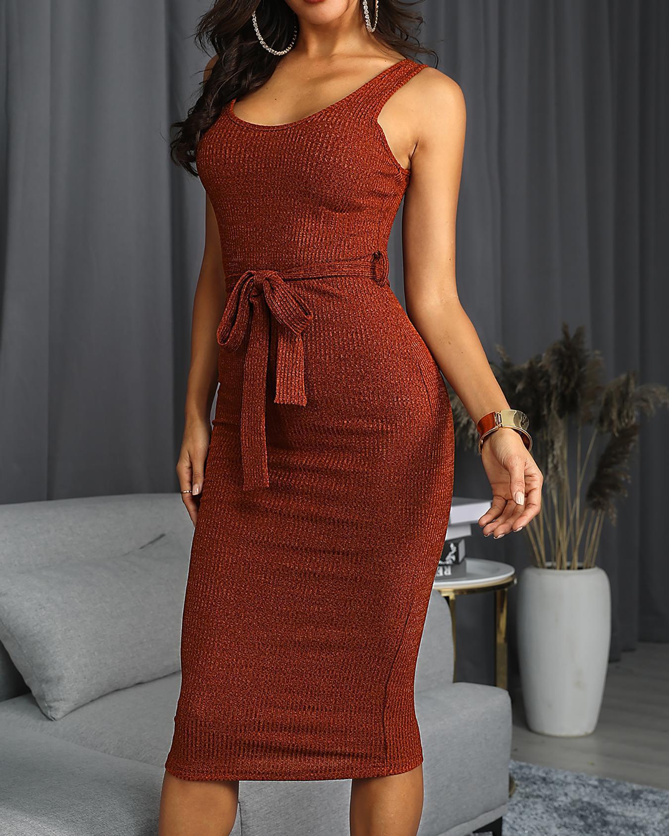 U-Neck Sleeveless Belted Dress