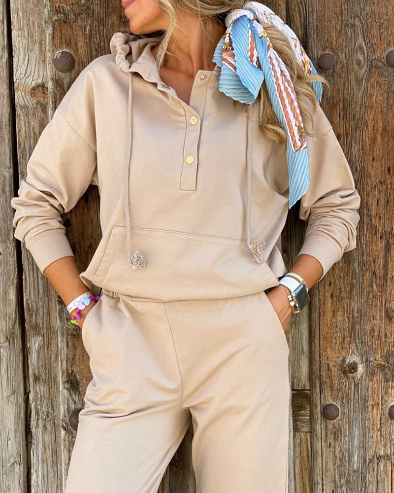 chicme / Conjunto de calças casuais com capuz e design de bolso