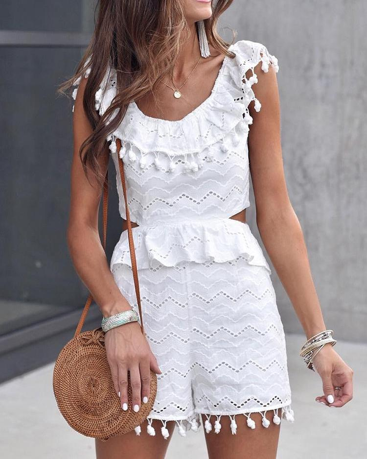 Hollow Out Lace Pom Poms Peplum Playsuit
