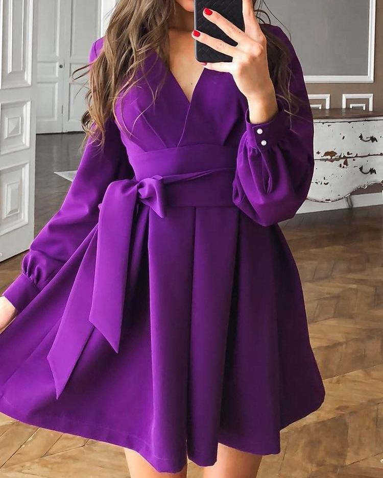 Lantern Sleeve Tie Waist Pleated Mini Dress