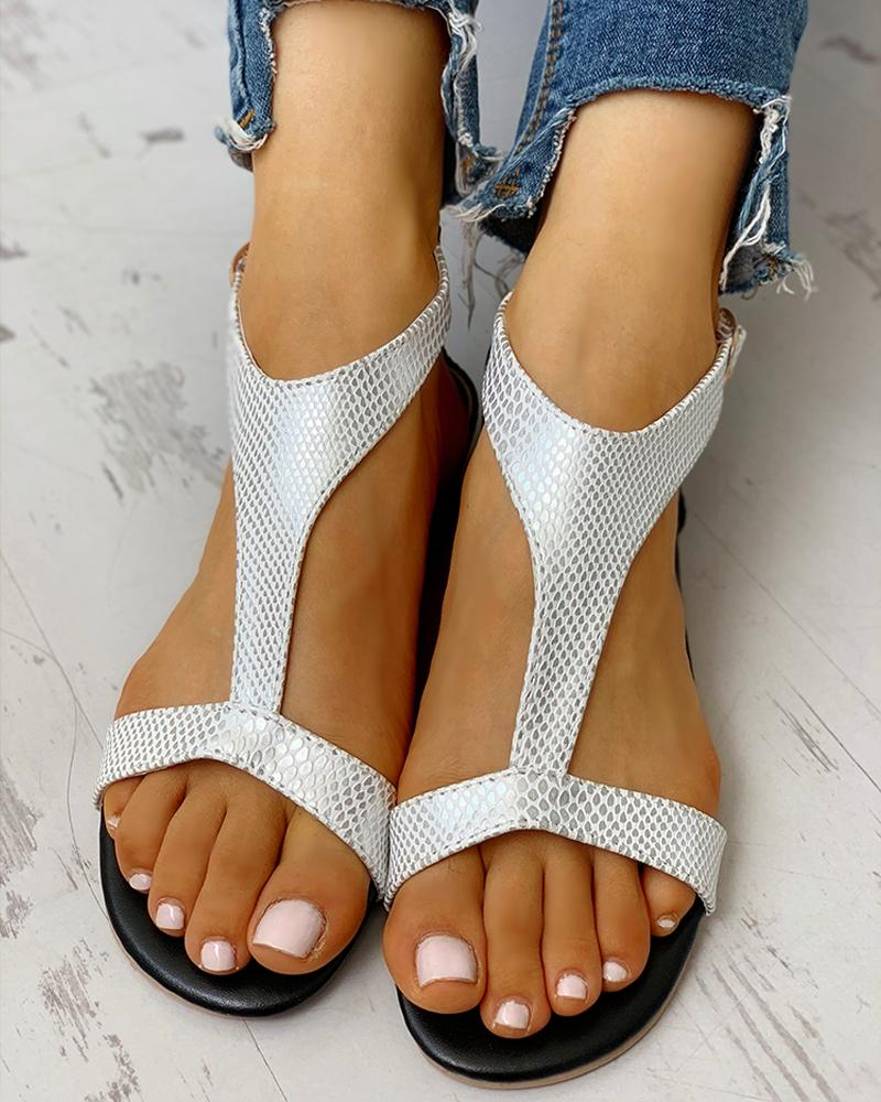 Open Toe T-Strap Design Flat Sandals