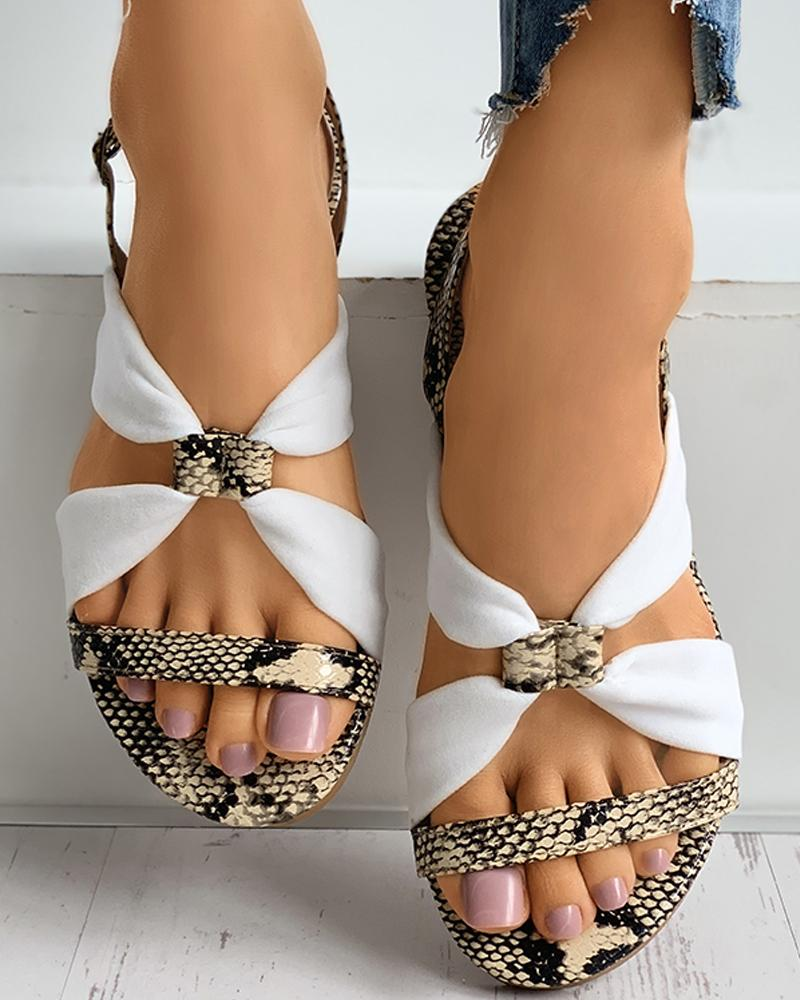 Snakeskin Grid Colorblock Slingback Sandals фото