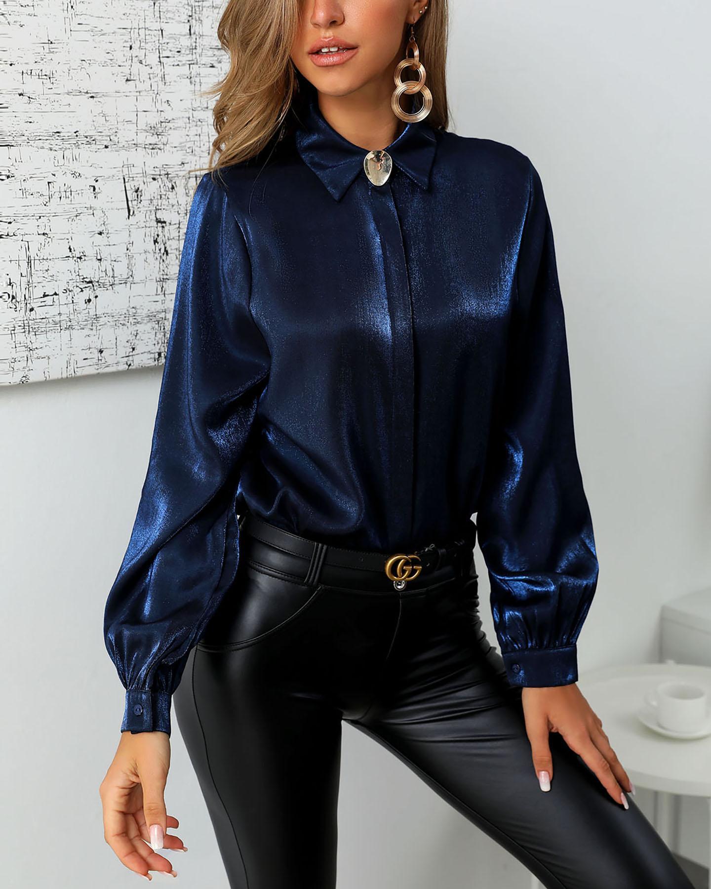 chicme / Camisa casual con botones y manga de linterna sólida