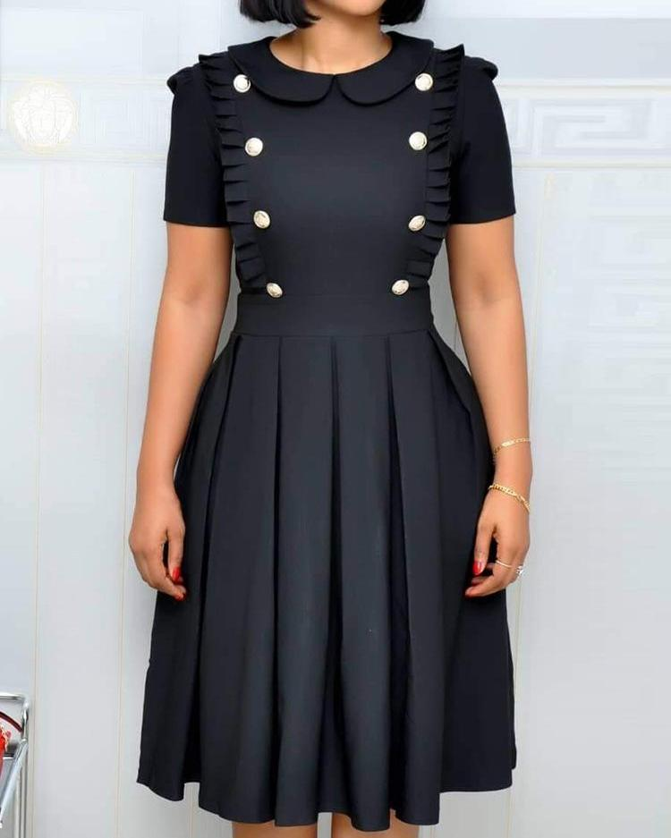 chicme / Buttoned Ruched Design Pleated Dress
