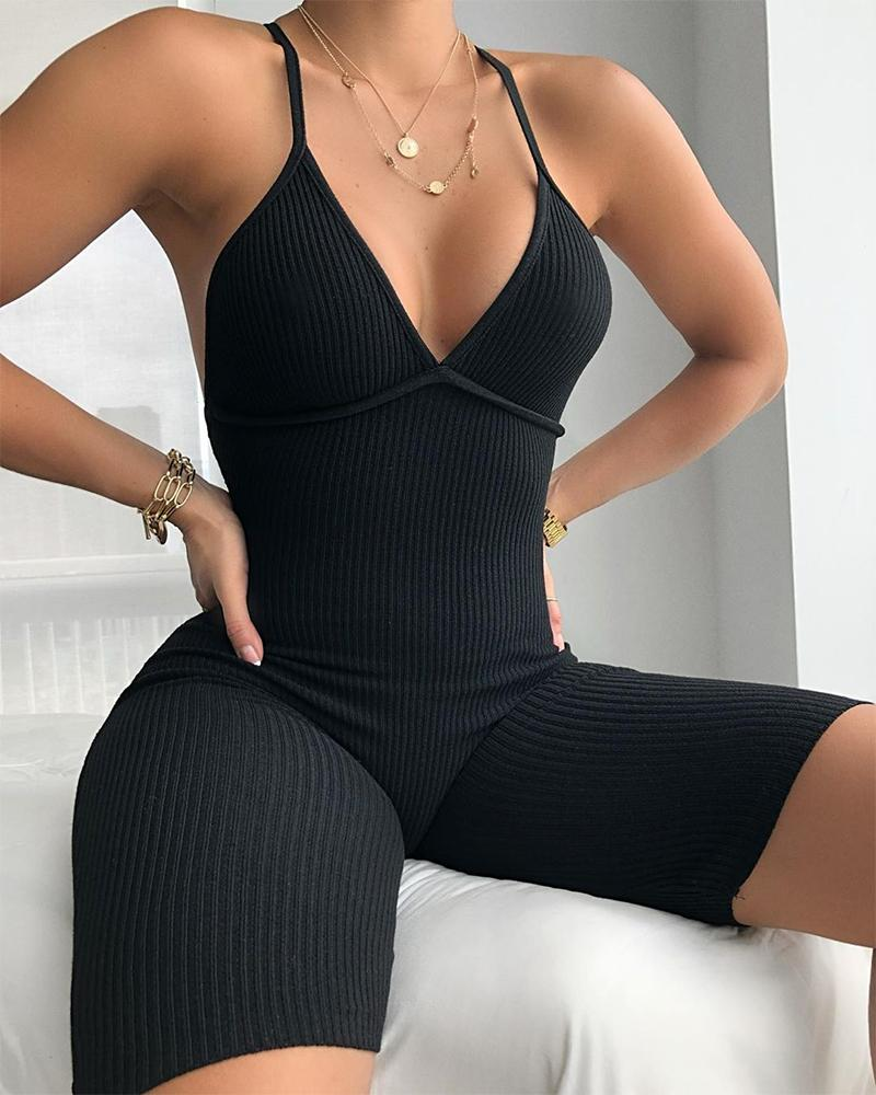 Spaghetti Strap Ribbed Fitted Romper