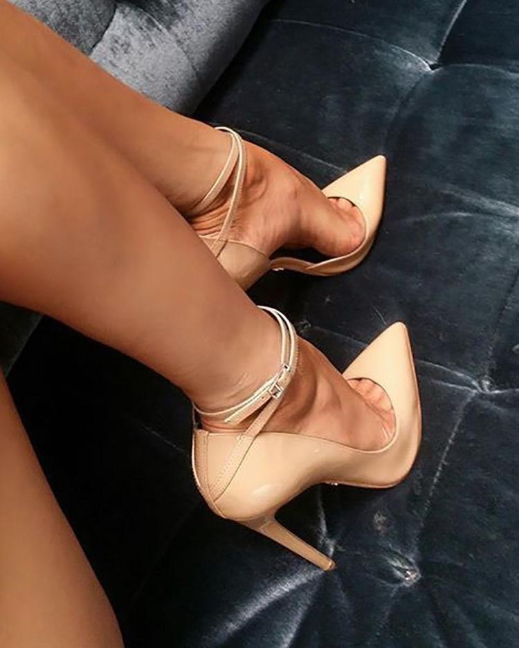 chicme / Apontou Toe tornozelo Strap Thin Heeled Pumps