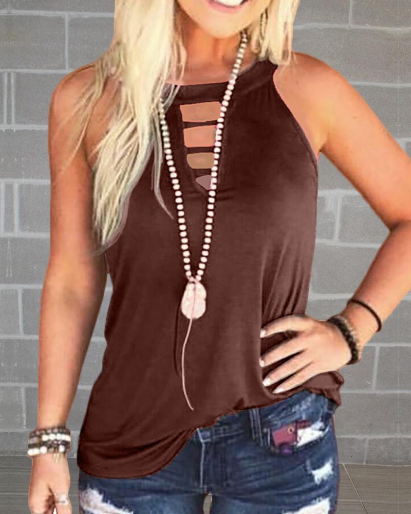 Solid Round Neck Cut Out Sleeveless T-shirt фото