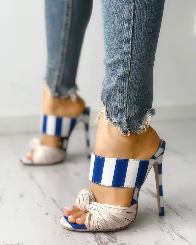 Striped Knotted Thin Heeled Sandals фото