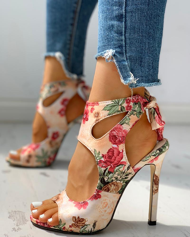 Floral Print Peep Toe Cut Out Thin Heeled Sandals, Apricot