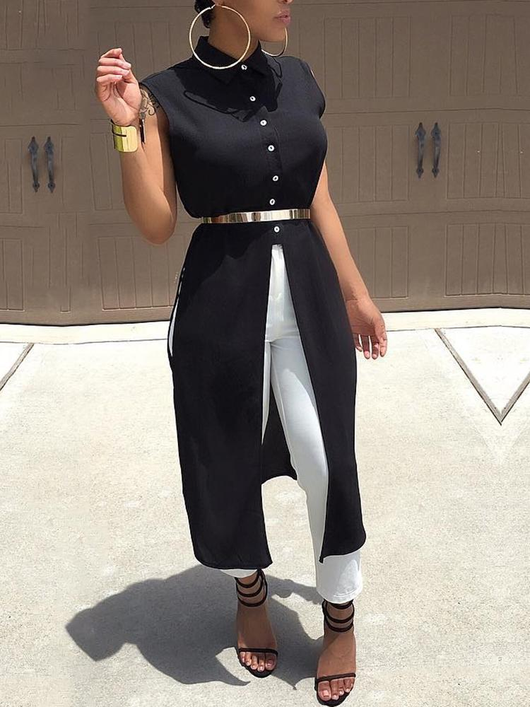 Stylish Sleeveless Button Slit Casual Blouse, Black