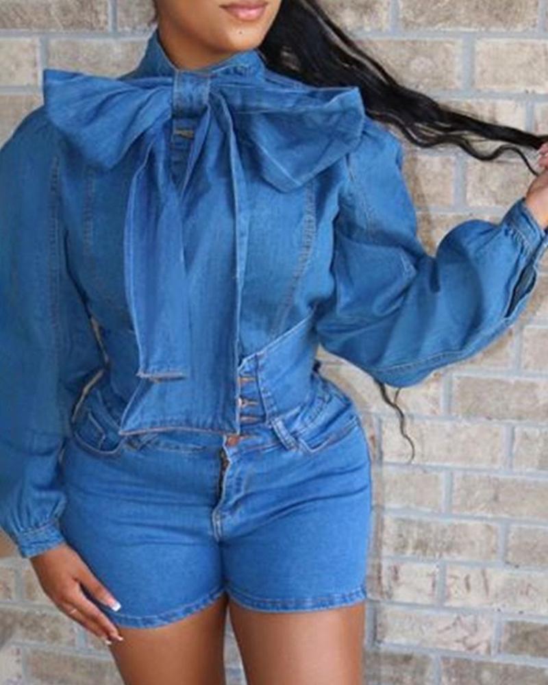 boutiquefeel / Solid Denim Bowknot Design Top & Slinky Short Sets