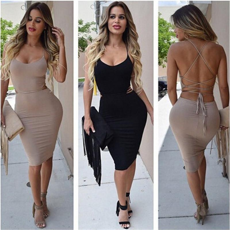 Купить со скидкой Women Sleeveless Strappy Criss Cross Back Bandage Dress 2016 Fashion Hip Package Bodycon Cocktail Pa