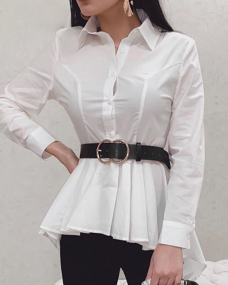 Ruched Button Up Dip Hem Blouse