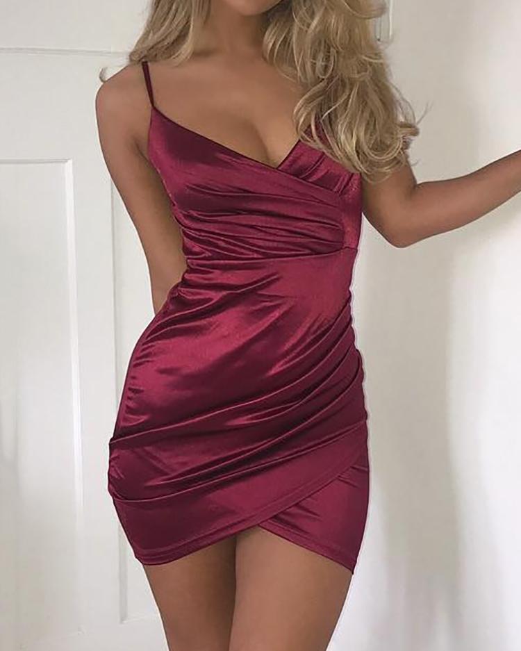 Ruched Crisscross Wrap Mini Slip Dress фото